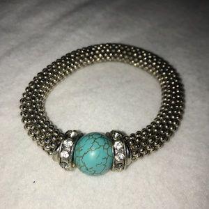Silver Turquoise Stone Elastic String Bracelet
